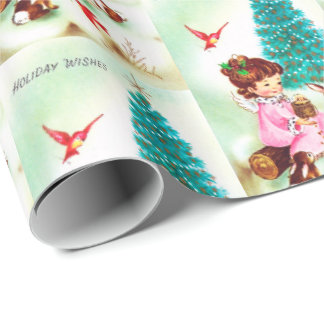 Retro Vintage Christmas Angel party wrap Wrapping Paper