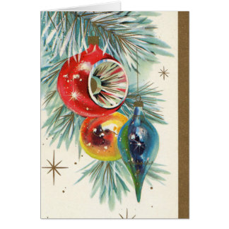 Retro Vintage Christmas bulb add text card