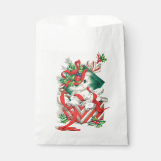 Retro Vintage Christmas cat Holiday party bag