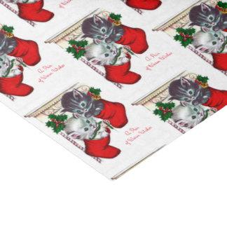 Retro vintage Christmas cat party tissue Tissue Paper