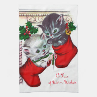 Retro Vintage Christmas cats Holiday kitchen towel