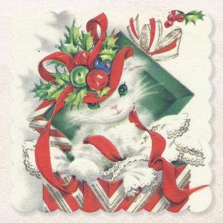 Retro Vintage Christmas Holiday cat party coaster