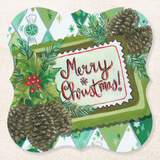 Retro vintage Christmas Holiday party coaster