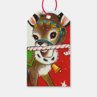 Retro Vintage Christmas Holiday reindeer party tag