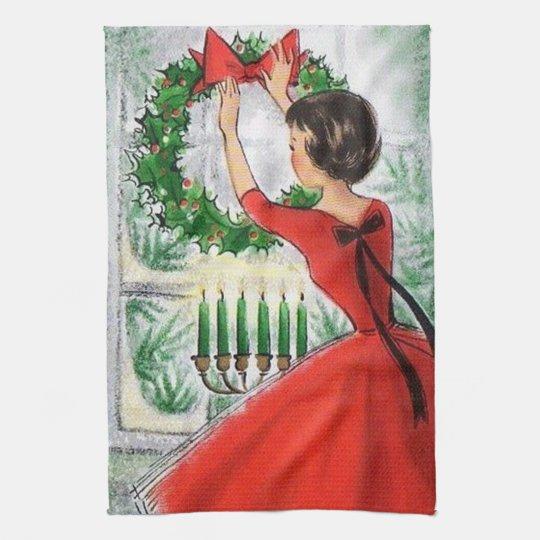 Retro Vintage Christmas Lady kitchen towel