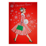 Retro Vintage Christmas lady poster