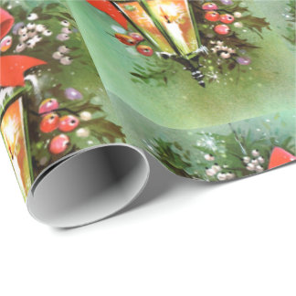Retro Vintage Christmas lamp pattern party wrap Wrapping Paper