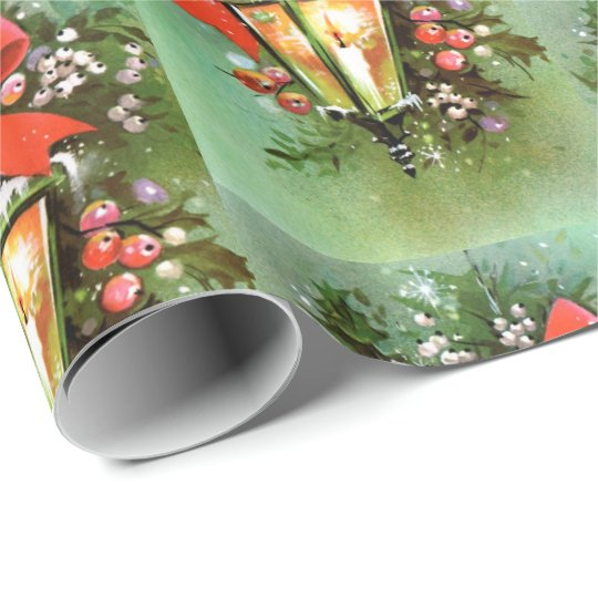 Retro Vintage Christmas lamp pattern party wrap Wrapping
