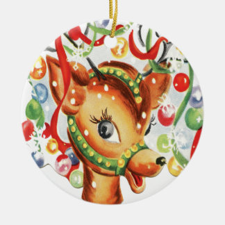 Retro Vintage Christmas Reindeer Confetti Round Ceramic Decoration