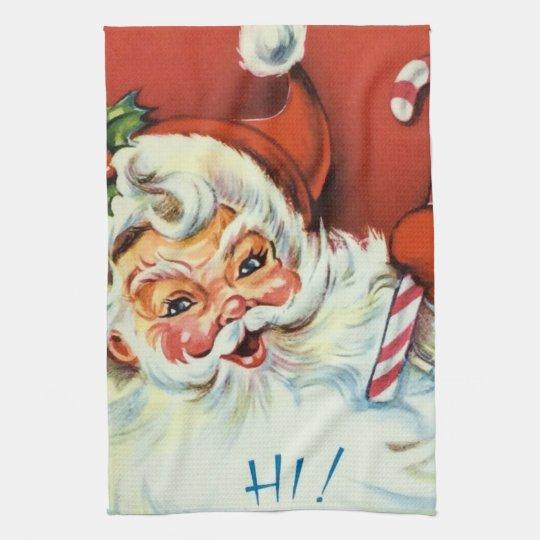 Retro Vintage Christmas Santa kitchen towel