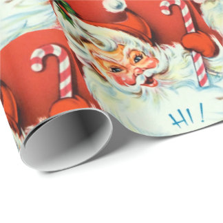 Retro Vintage Christmas Santa party wrap Wrapping Paper