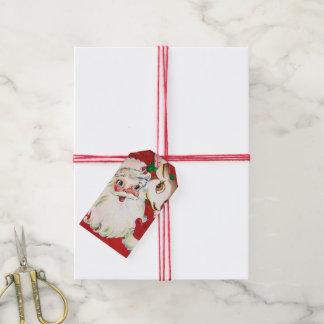Retro Vintage Christmas Santa reindeer add name Gift Tags