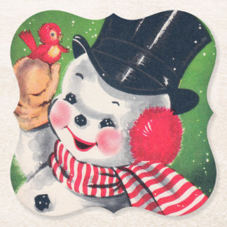 Retro Vintage Christmas snowman party coaster