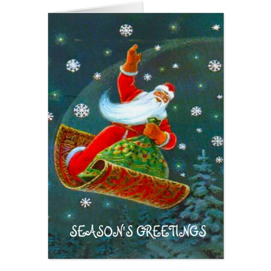 Retro Vintage Christmas time, Santa's magic carpet Card