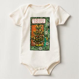 Retro Vintage Christmas trees Baby Bodysuit