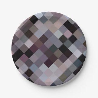 Retro vintage colors cubes pixels pattern paper plate