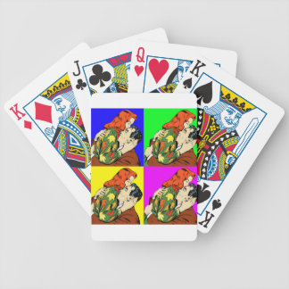 retro vintage comic bicycle playing cards
