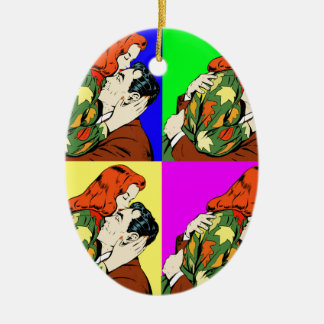 retro vintage comic ceramic oval decoration