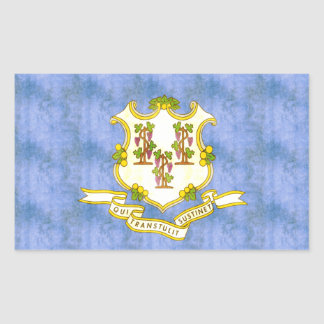 Retro Vintage Connecticut Flag Rectangular Sticker