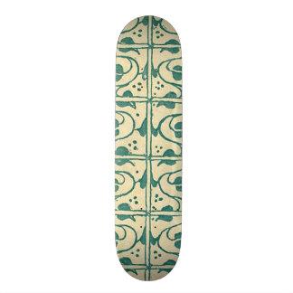 Retro Vintage Creme Green Leaf Vines Skate Board Deck