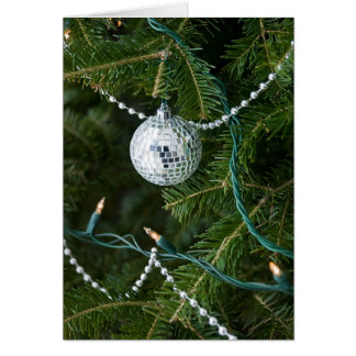 Retro Vintage Disco Ball Christmas Ornament Holida Card