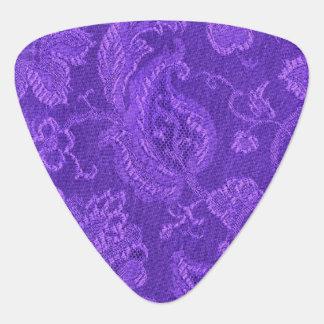 Retro Vintage Floral Amethyst Purple Guitar Pick