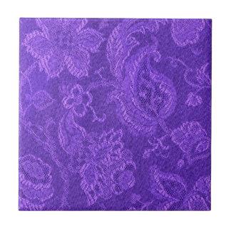 Retro Vintage Floral Amethyst Purple Tile