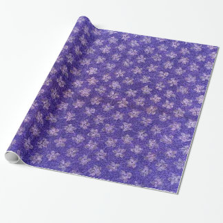 Retro Vintage Floral Blue Purple Violets Flowers Wrapping Paper