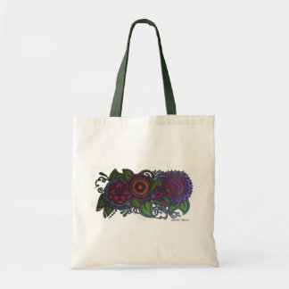 Retro, vintage floral design tote bag