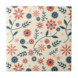 Retro Vintage Floral Flower Seamless Pattern Tile