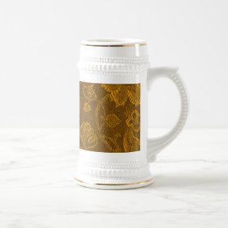 Retro Vintage Floral Mustard Yellow Gold Mug Stein