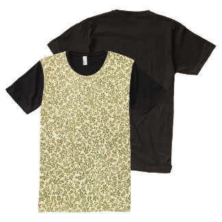 Retro Vintage Floral Olive Green Flowers All-Over Print T-Shirt