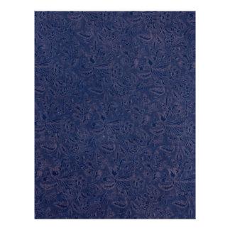 Retro Vintage Floral Sapphire Blue Flowers Leaves 21.5 Cm X 28 Cm Flyer