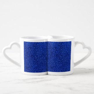 Retro Vintage Floral Sapphire Blue Flowers Lovers Mugs