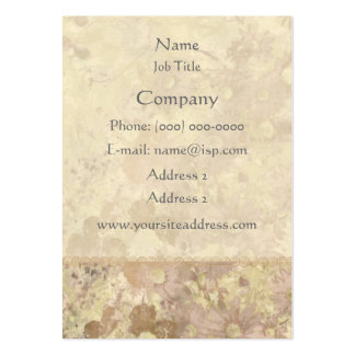 Retro Vintage Floral Tan Beige Pack Of Chubby Business Cards