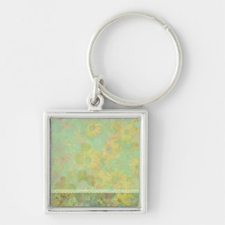 Retro Vintage Floral Yellow Green Silver-Colored Square Key Ring