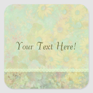 Retro Vintage Floral Yellow Green Square Sticker