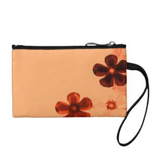 Retro Vintage Flowers Burnt Orange Rust Flower Change Purses
