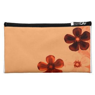 Retro Vintage Flowers Burnt Orange Rust Flower Makeup Bag
