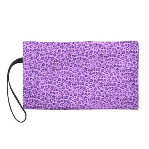 Retro Vintage Flowers Lavender Purple Wristlet Bag
