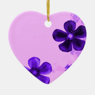 Retro Vintage Flowers Purple Heart Ornament