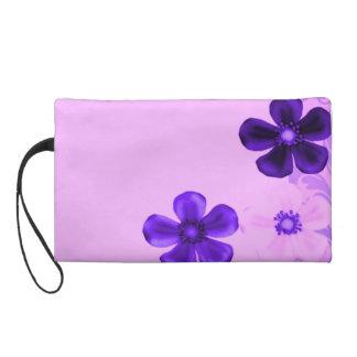Retro Vintage Flowers Purple Wristlet Bagettes Bag