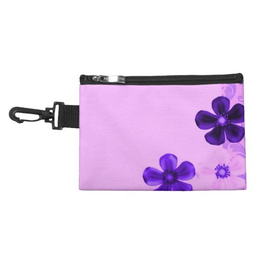 Retro Vintage Flowers Purple Wristlet Clip-On Bag