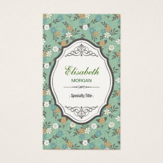 Retro Vintage Flowers with Elegant Vintage Frame Business Card