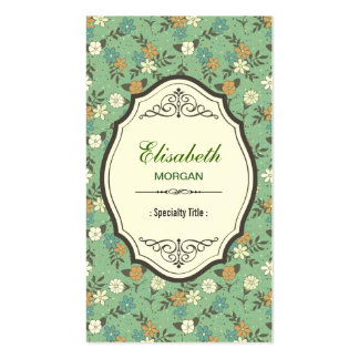 Retro Vintage Flowers with Elegant Vintage Frame Pack Of Standard Business Cards