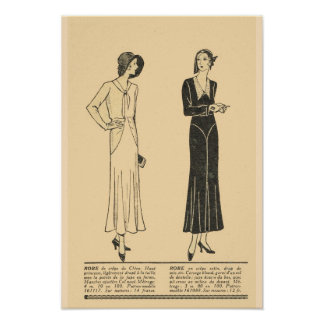 Retro vintage French  Fashion,Day dresses 1931 Poster
