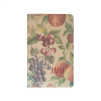 Retro Vintage Fruit Berries Monogrammed Notebook Journal