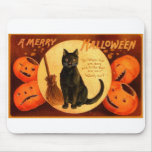 Retro Vintage Halloween A Merry Halloween Mouse Pad