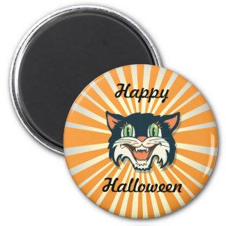 Retro Vintage Halloween Cat 6 Cm Round Magnet
