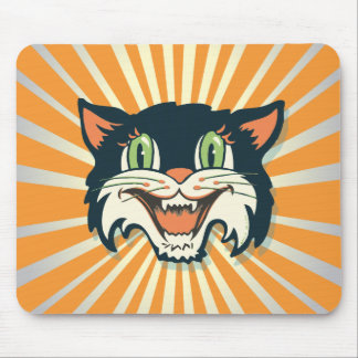Retro Vintage Halloween Cat Mouse Pad